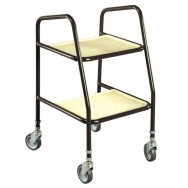 Adjustable Height Trolleys with Wooden Shelves
